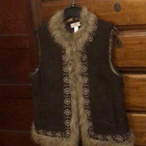 Ann Taylor fur lined vest